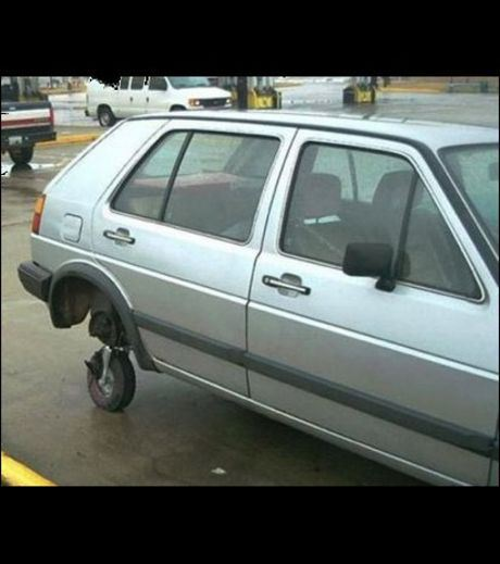 A small tyre being used as a car tyre
