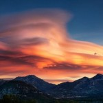 A Lenticular Cloud overseeing Rocky Mountains in USA.
