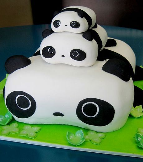 A Cake Made As Panda Heads