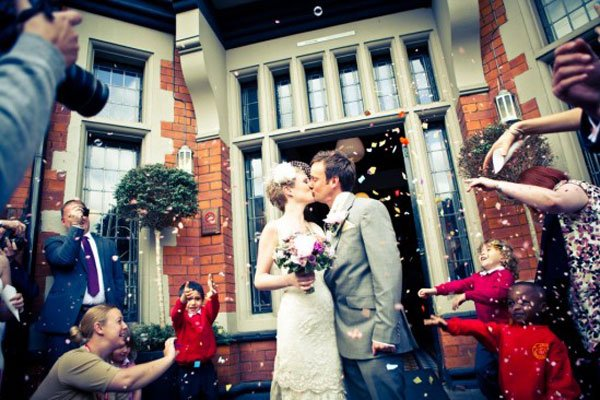 The first marriage in Didsbury, England