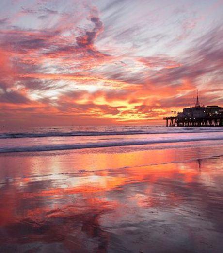 Sunset at Santa Monica Pier in California