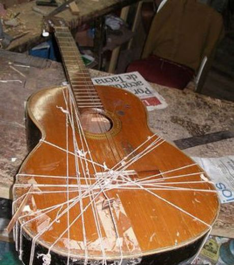 This guitar was cobbled together to be functional again