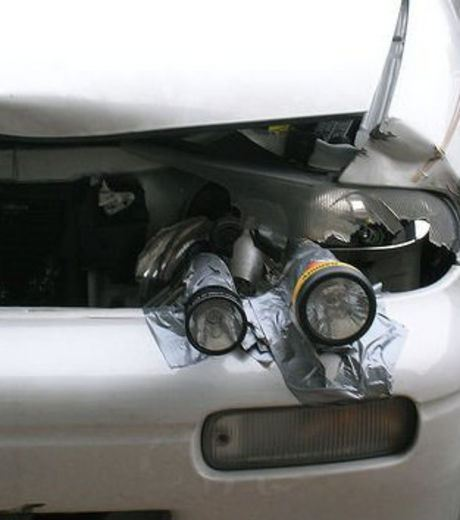 hand Torch used as headlight lamps