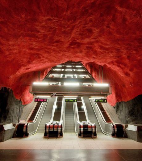 It is a true metro station in Stockholm, Sweden