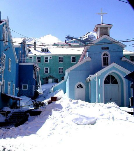 Snowy Chilean town Sewell