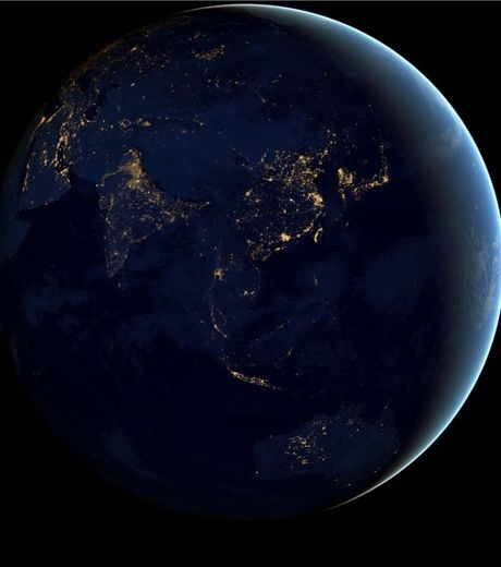 Asia Pacific and China From Space In Night