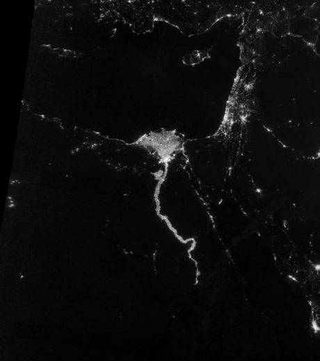 Egypt and suez canal From Space in Night