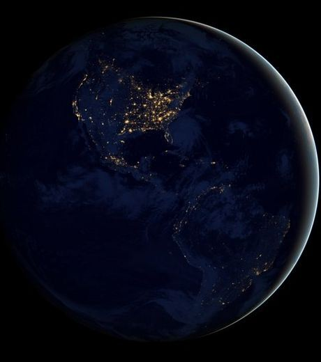 North And South America In Night From Space