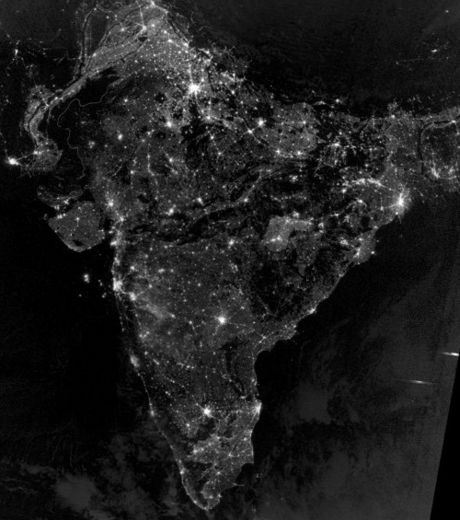 India and Pakistan From Space During Night