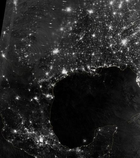 USA View From Space During Night