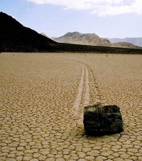 A Strange Stone And Its Drag In Death Valley, California, United States