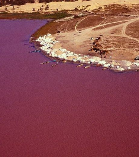 The Deep Pink Coloured Lake Retba in Senegal