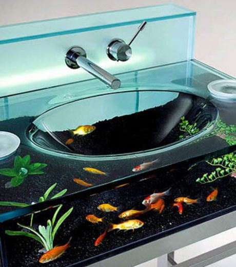 An Aquarium Made From  A Wash Basin