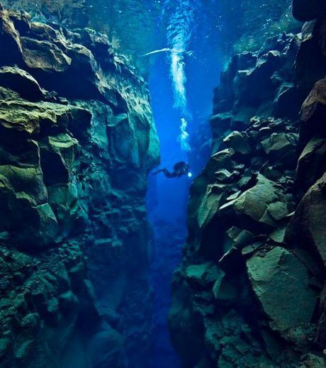 The Silfra rift That Separates Betweens Two Continents And Two Tectonic Plates