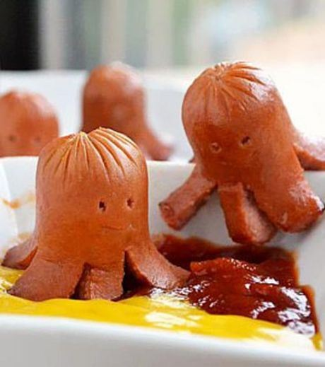 An octopus using food artwork