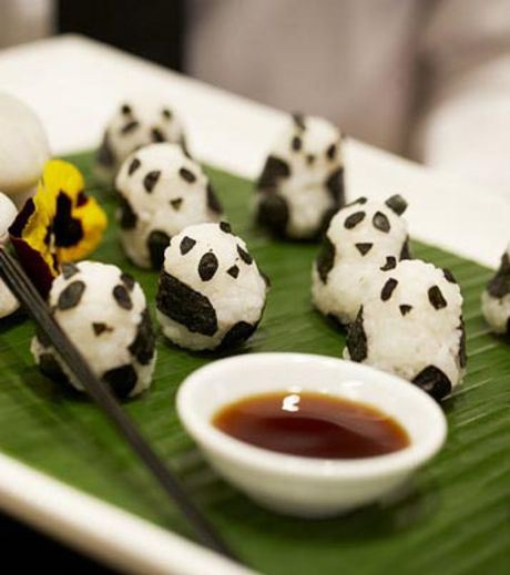 Pandas made using food artwork