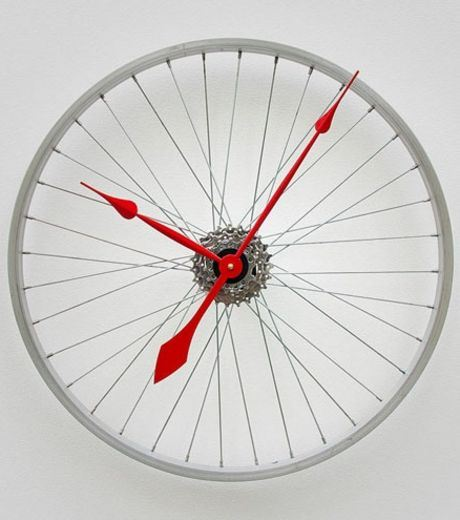 A Clock Made From Cycle Wheels