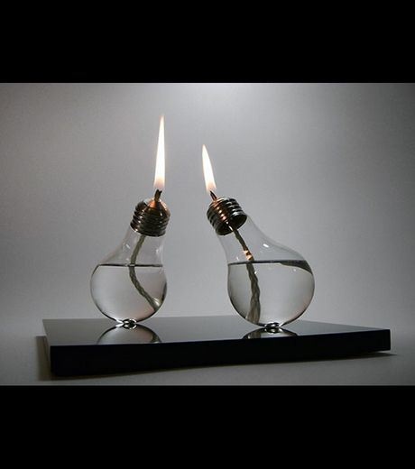 Oil Lamps Made From Bulbs