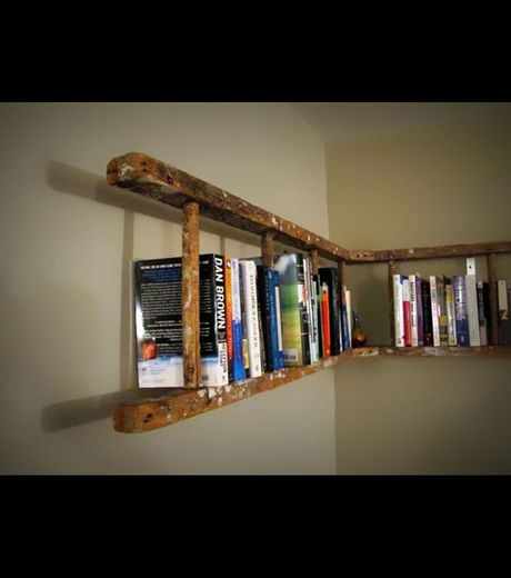 A Ladder Used to Create A Home Library
