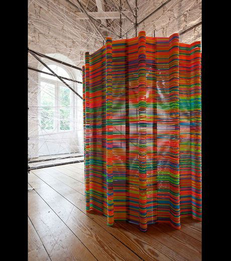 An original screen made with hangers