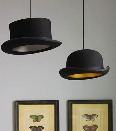 Old Hats As Lamp Holders