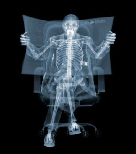 X-Ray Image of A Person Reading Newspaper