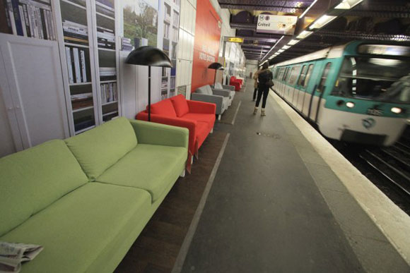 The Paris metro with furniture from Ikea