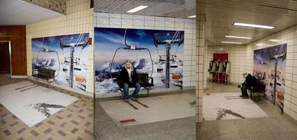 A ski resort in the subway