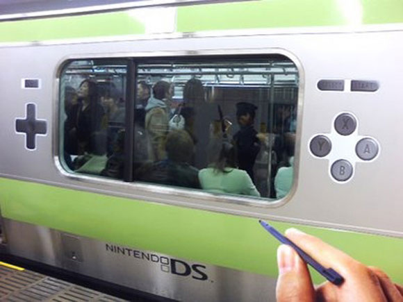 Nintendo DS publicity in Japanese subway