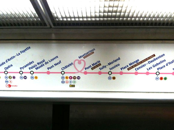 The Paris metro station is a meeting place for the matrimonial and dating site Meetserious on February 14, 2013