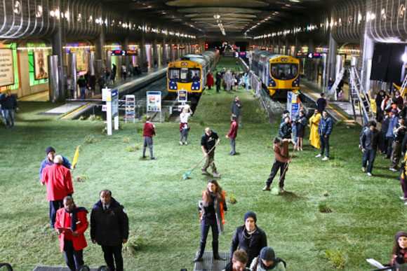 A train station transformed into green space by brand Dairy Fresh Meadow