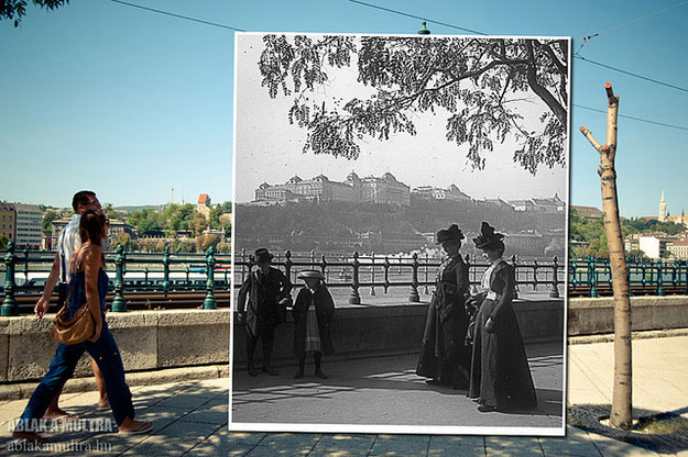 1900 and 2012--Location: Budapest, Hungary, Danube   Riverside Walk