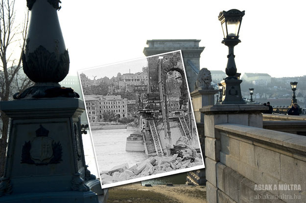 1945 and 2011--Location: Budapest, Hungary, Chain Bridge.
