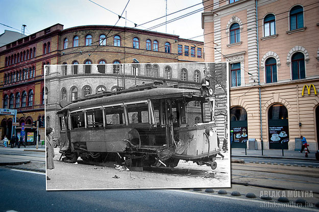 1956 and 2013--Location: Budapest, Hungary corner of the National Theatre and St. Joseph St.