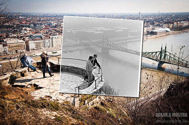 1960 and 2013--Location: Budapest, Gellért Hill with the Liberty Bridge in the background.