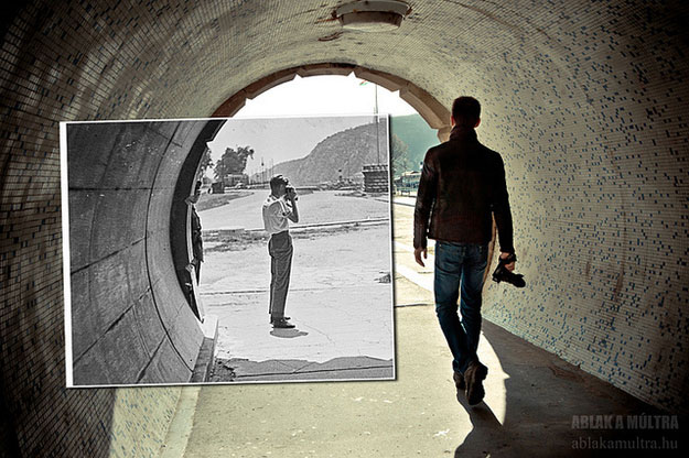 1963 and 2013--Location: Budapest, Hungary, East end of Chain Bridge, pedestrian tunnel.