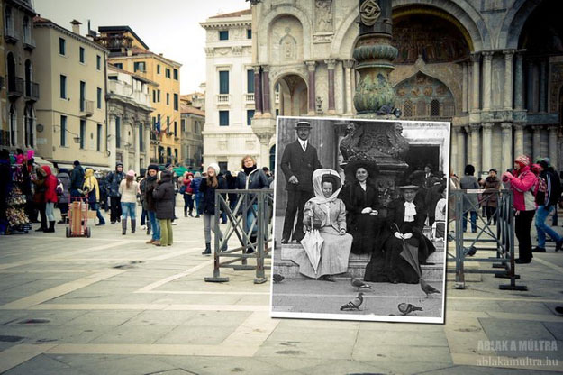 1909 and 2012--Location: Venice, Italy, Piazza San Marco with the Basilica in the background