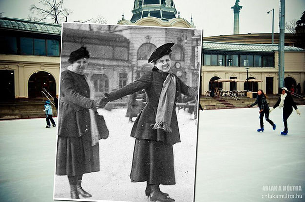 1910 and 2011--Location: Budapest, Hungary, Ice Rink city park.