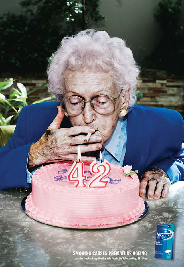 A shocking add against premature ageing because of smoking