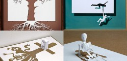 sculptures made from single paper sheet