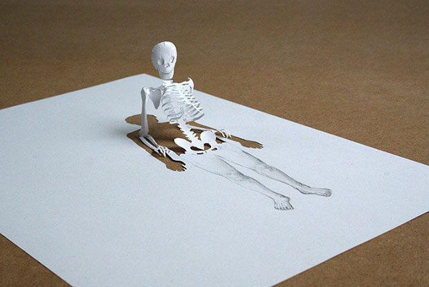 A human skeleton made from single sheet of paper