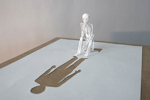 Amazing Human Skeleton Sculpture Made From Paper