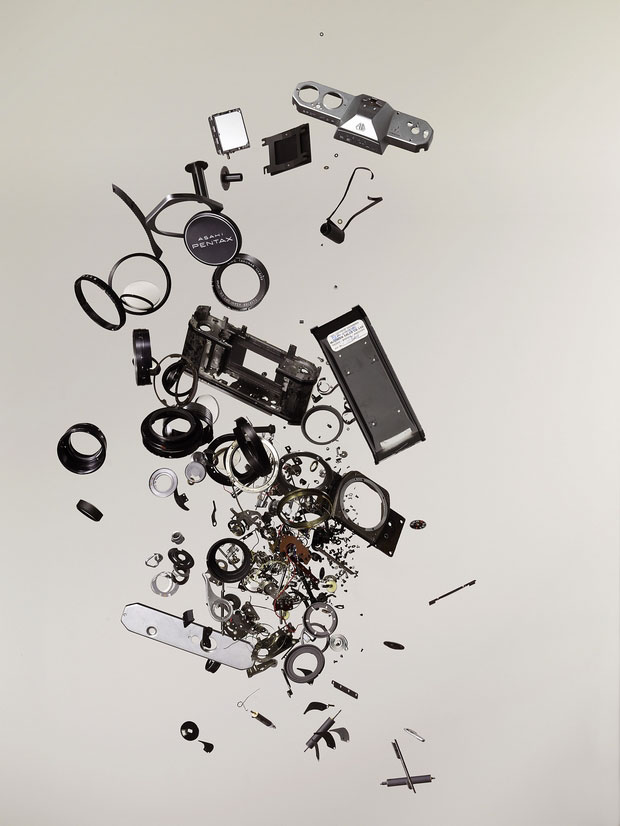 Disassembled parts of camera