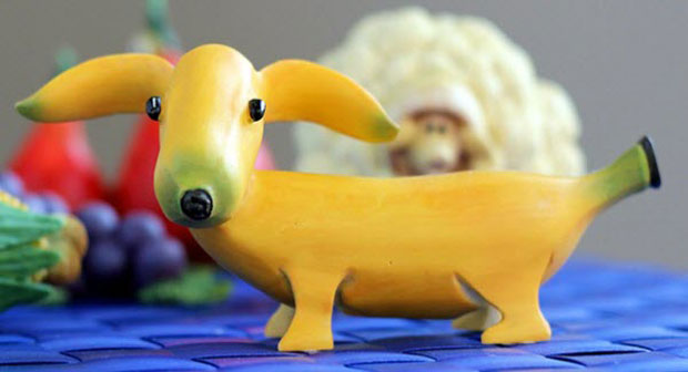 A dog Sculpture made From Banana