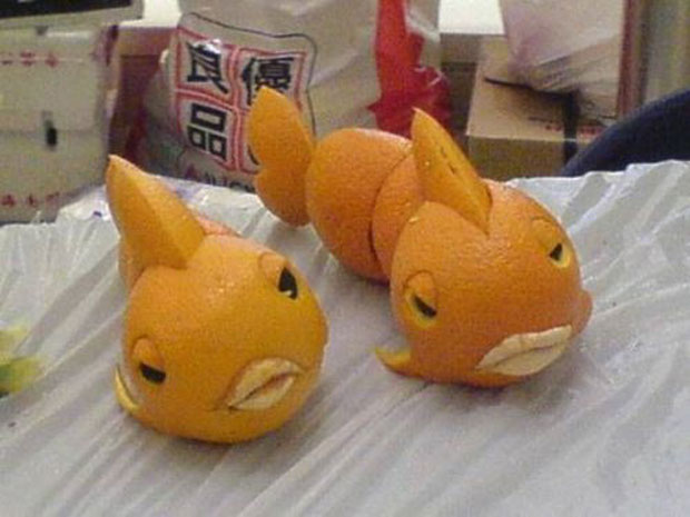 Fishes Sculptures made From Oranges