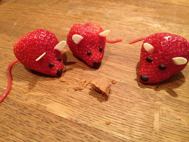 Mice Sculptures Made From Strawberry