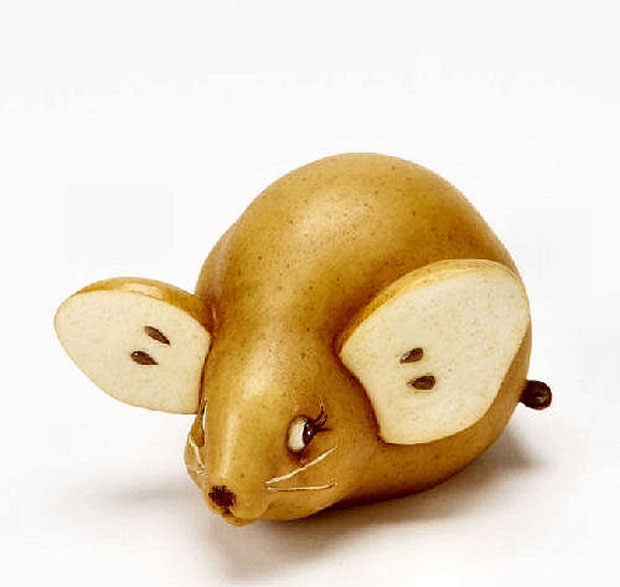 Mice Sculptures Made from Pear