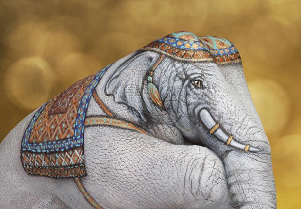 Elephant-White-on-gold1-Ultra Realistic Hand Painting
