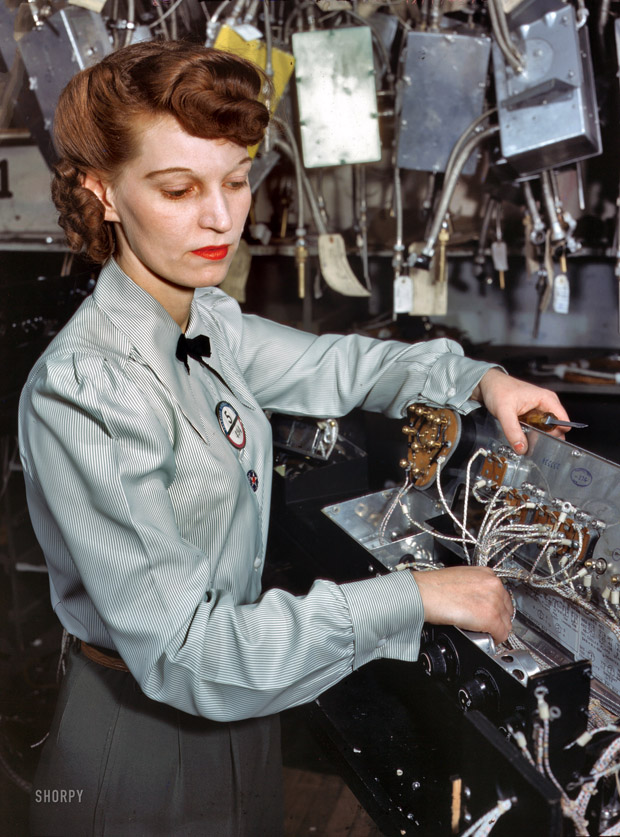 December 1941. An electronics technician at Goodyear Aircraft Corp.., Akron, Ohio.