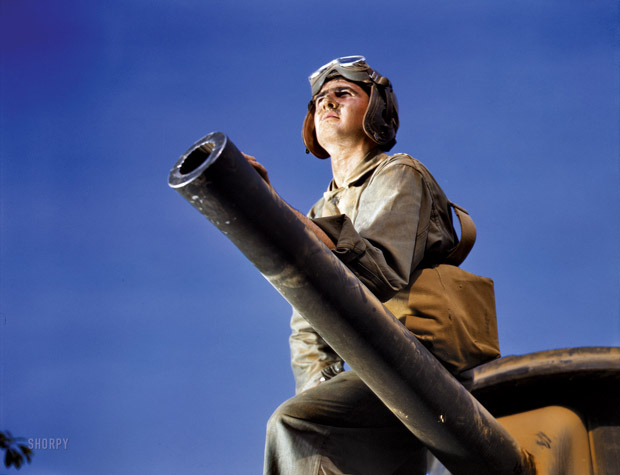 June 1942. Crew Member of a M-3 Fort Knox Tank, Kentucky. ""